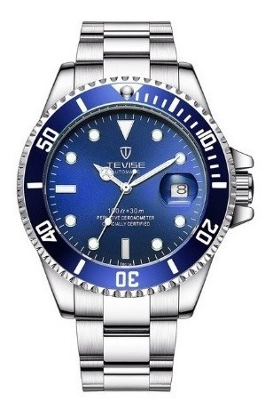 Relógio Tevise Automático Mecânico Inox 801 Azul