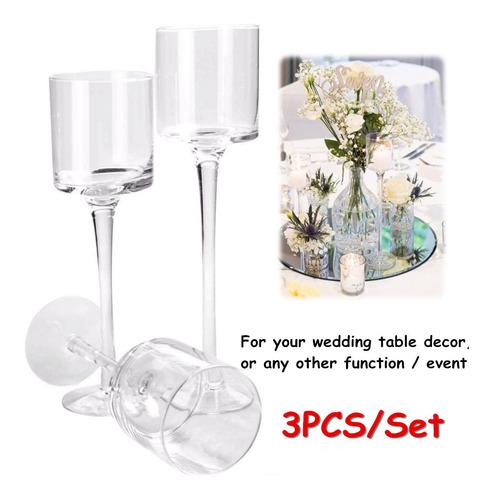 color dorado Juego de 3 portavelas en diferentes tama/ños tabla de boda Wuudi soporte para velas 24//28//33 cm soporte para velas para cena decoraci/ón de candelabro