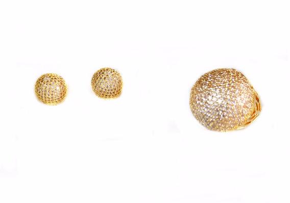Semi Jóias Anel N°20 Brinco Dourado Com Pedras