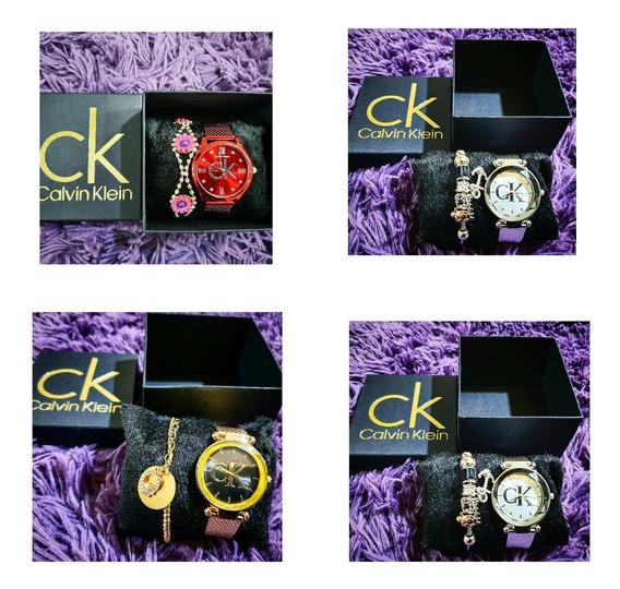 Relógio Feminino Ck + Caixa+ Pulseira