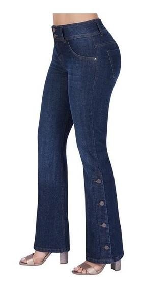 Pantalon Jeans Dama Mujer Acampanado Mezclilla Strech Azul