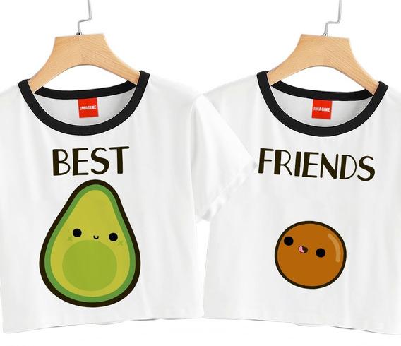 2 Blusas Mejores Amigas Aguacate Friends Playera Crop #725