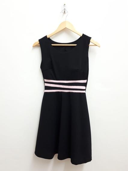 Vestido Informal Corto Negro - Rayas - No Forever 21