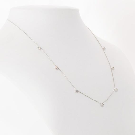 Colar Pontos De Luz Tiffany Em Zirconia Banho Ródio Branco