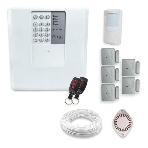 Imagem 1 de 5 de Kit Alarme Residencial Bopo 6 Sensores Sem Fio Discadora