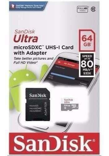 Cartão Micro Sdxc 64gb Ultra Sd Classe 10 80mb/s Nf E Garant