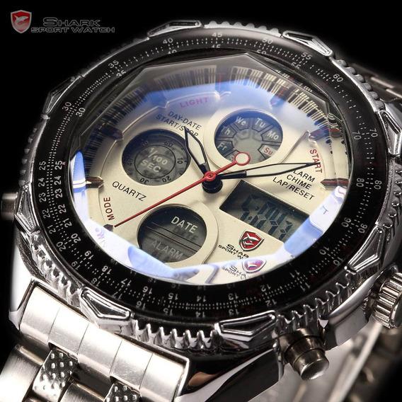 Relógio Shark Militar Branco - Sh109 Inox Dia Dos Pais