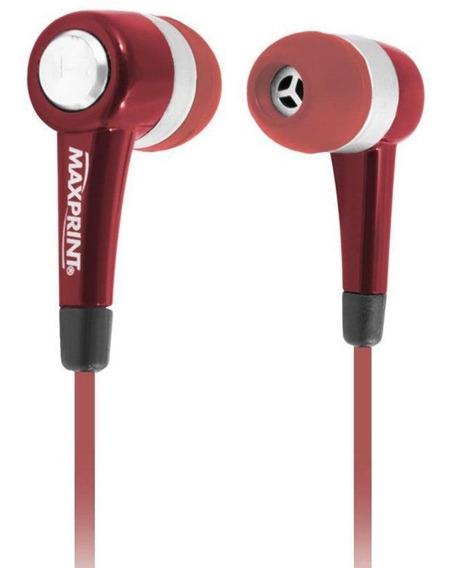 Fone De Ouvido Maxprint Com Microfone 601154-0 - Vermelho