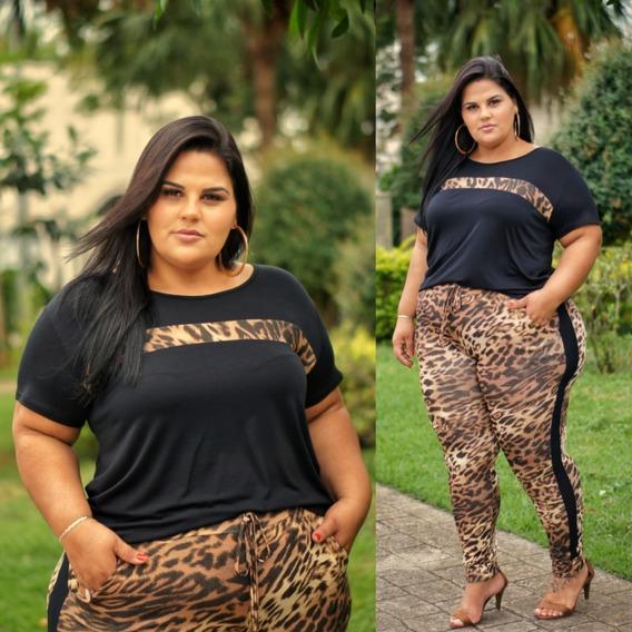 Conjuntos Femininos Plus Siz Camisa E Calça Estampa Onça