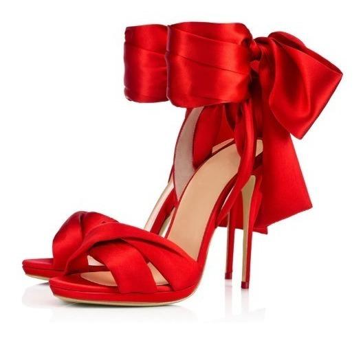 Sandália Feminina Salto Fino Alto Gladiadora Vermelha Cetin