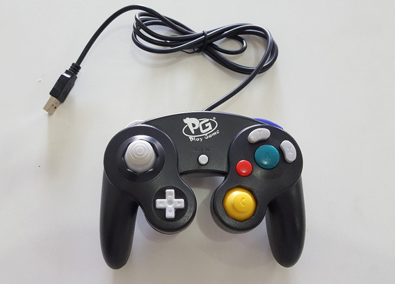 Controle Game Cube Usb Pc Notebook Raspberry Joystick Preto