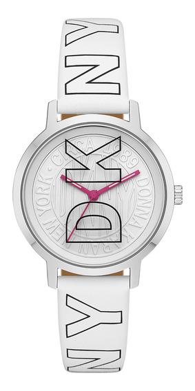 Reloj Unisex Dkny Ny2819 Color Blanco De Poliuretano