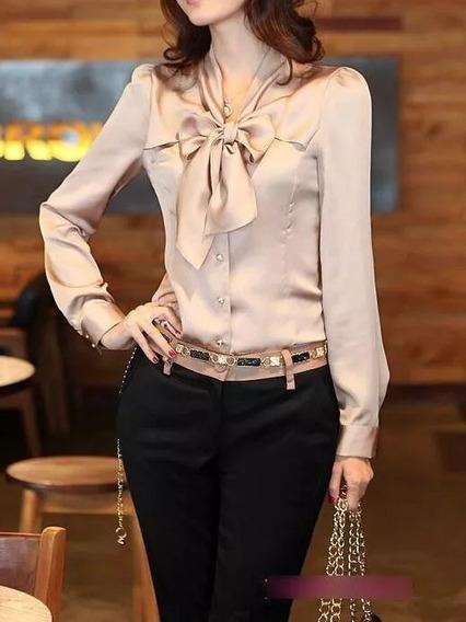 Camisa Feminina Blusa Social Laço Gravata Cetim Branco Bordô