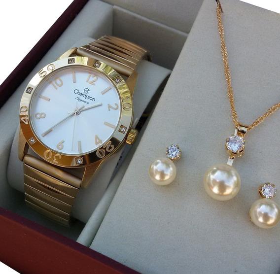 Kit Relógio Feminino Champion Dourado Cn27849w Original Nf