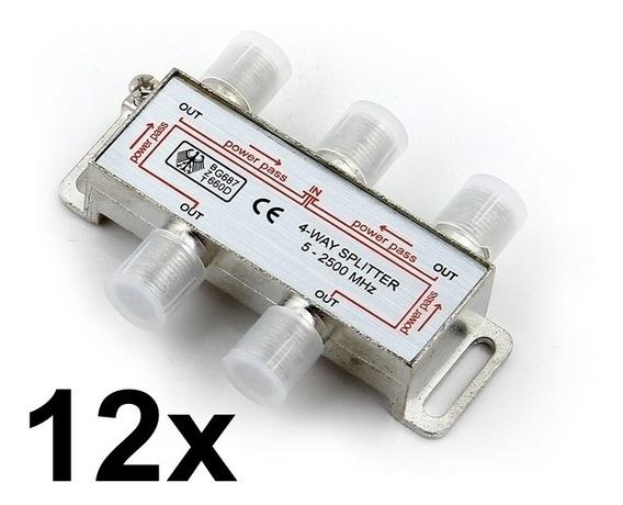 Kit 12x Divisor De Sinal Antena Hdtv 2500mhz Tv Splitter 1x4