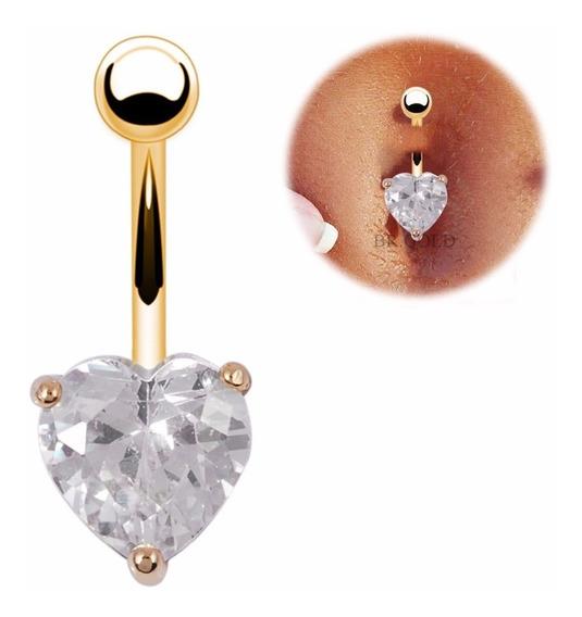 Piercing De Umbigo Banhado A Ouro Com Coração De Zircônia