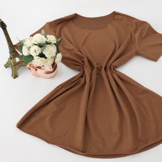Blusa Suede Tshirt Caramelo Feminina Frio Moda Blogueira