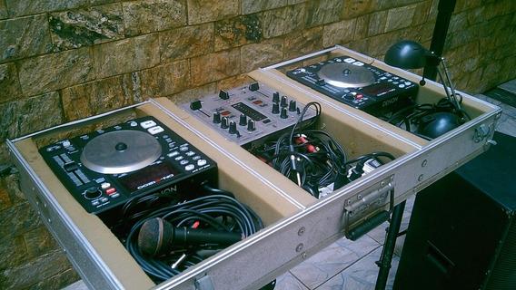 2 Cdjs Denon 1200 + Mixer Behring Vmx100 + Case + Suporte