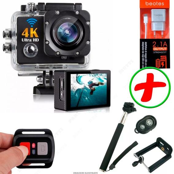 Camera Wi-fi Sport 4k C/ Controle Remoto + Kit + Brindes