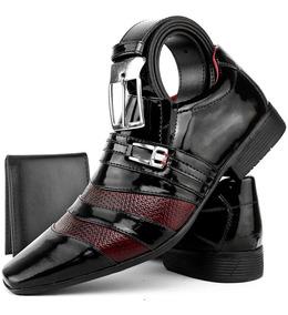 Sapato Social Confortável Envernizado Kit Com 3 Itens