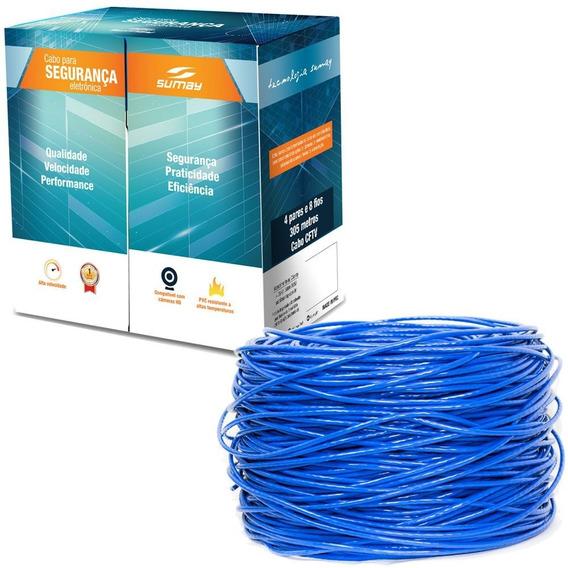 Cabo Para Segurança Eletrônica Cftv Sumay Azul 305m