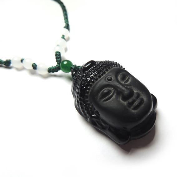 Colar Buda Vidro Preto Bolinha Jade Boho Pingente Hippiechic