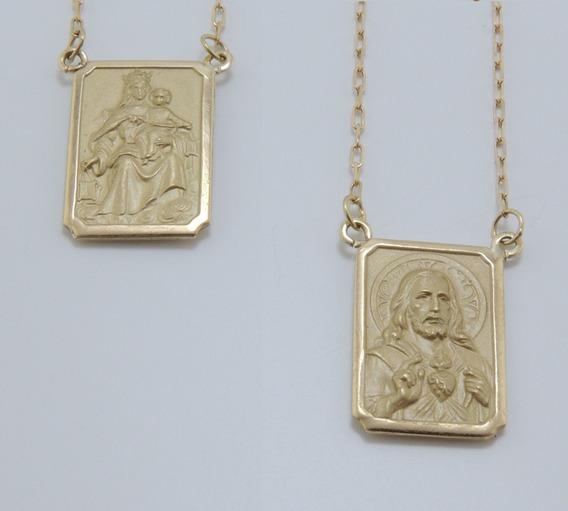 Escapulário Medalha Dupla Face Cadeado 70 Cm Cordão Ouro 18k