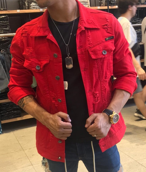 Jaqueta Jeans Masculina Destroyed Rasgada Slim Fit Estilosa