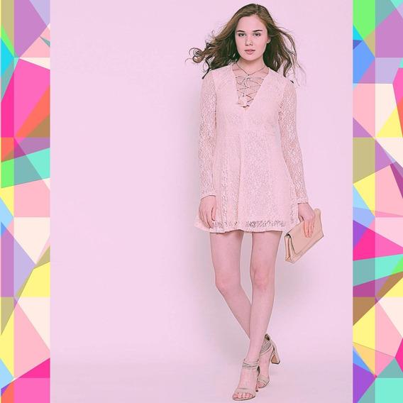 Vestido Rosa De Encaje Lace Up Forever21 Talle S