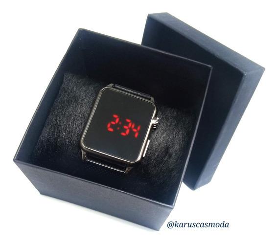 Relógio Feminino Preto Ou Prata + Caixa