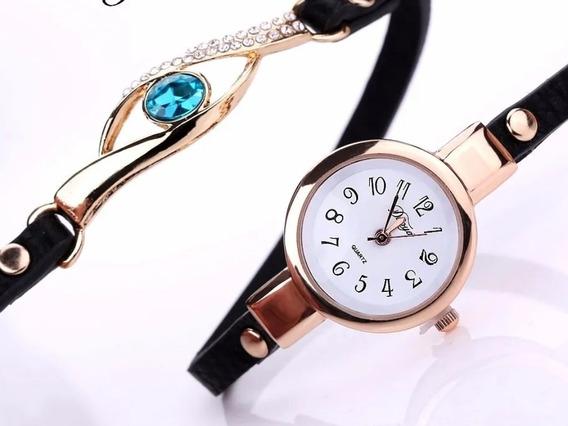 Relógio Pulseira Feminino Dourado Import Couro Pingente Azul