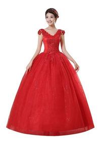 Vestido De Debutante Casamento Flores Vermelho Comprido