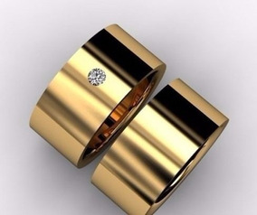 Par Aliança Ouro 18k 750 7mm 10gr 1 Brilhante Casamento