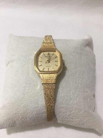 Relógio Orient Quartz Vx Feminino Folhado Ouro Original