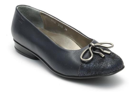 Zapatos Juve 7758 Azul Moño 22-26.5 Ancho Doble