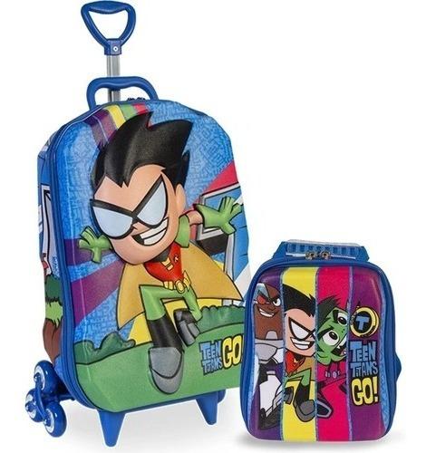 Kit Mochila Jovens Teen Titans Infantil Masculina Rodinha 3d