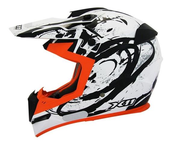 Capacete X11 Atomic Laranja Motocross Trilha Promoção!!