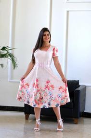 Vestido Midi Gode Floral Evangélico Princesa Boneca