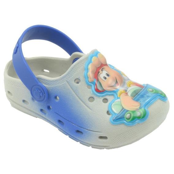 Babuche Infantil Menino Masculino Azul Pé Com Pé