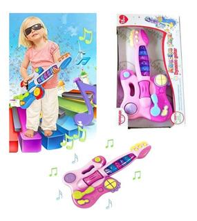 Guitarra Infantil Pink Nena Con Luces Sonidos Melodías