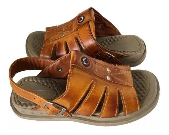 Sandalha Chinelo Masculina Em 100%couro Conforto Anti Stress