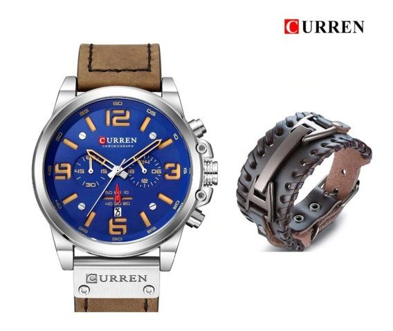 Relógio Masculino Curren 8314 Azul Grátis Pulseira Couro