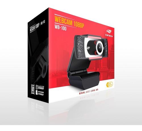 Imagem 1 de 4 de Webcam C3tech - Câmera Full Hd 1080p Wb-100bk Preto