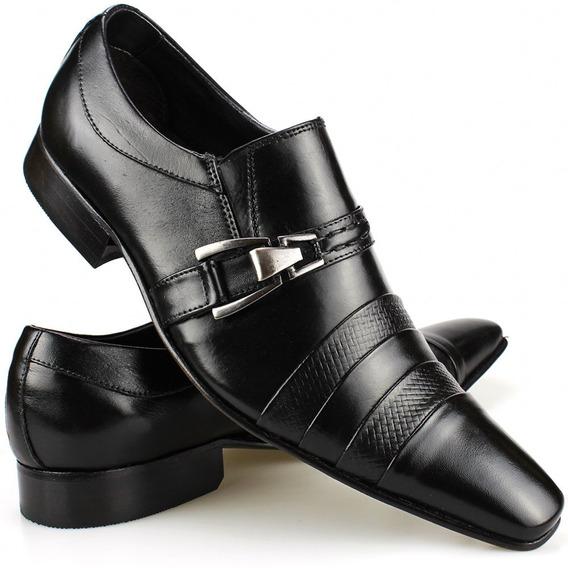 Sapato Social Masculino Bico Fino Alongado Em Couro
