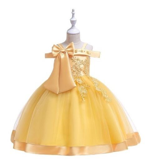 Vestido Niña Fiesta Cumpleaños/presentacion/ Boda Amarillo