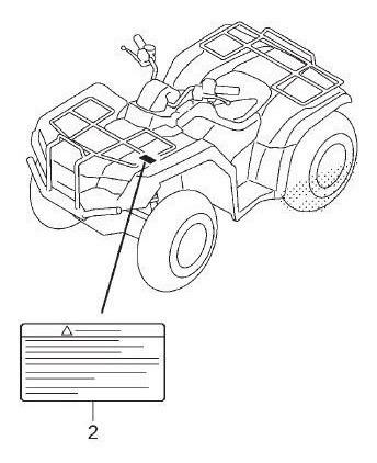 Adesivo Alerta Bagageiro Honda Fourtrax 420 2008/2018