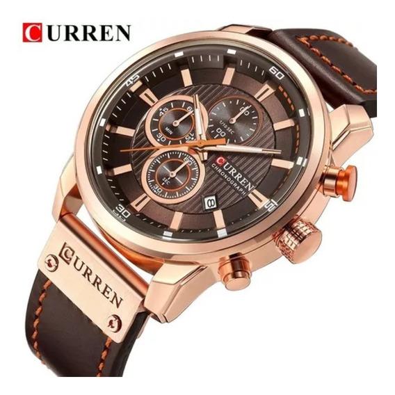 Relógio Masculino Luxo Curren 8291 Original Cronógrafo Funcional Esportivo Pulseira Couro