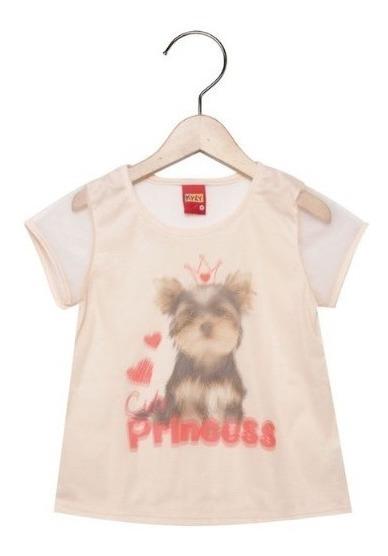 Blusa Manga Curta Kyly Princesa Fofa Menina Infantil Bebê