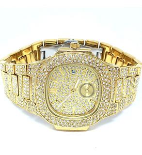 Reloj Cubano, Piedras Brillantes, Chapado En Oro