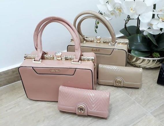 Bolsa Feminina E Carteira Importada Luxo Verniz Bag Baú 12x